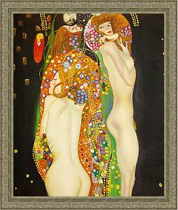 Water Serpents by Gustav Klimt 85cm x 72.5cm Framed Ornate Silver