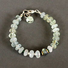 U&C Sundance Aquamarine Moonstone Green Tourmaline .925 Sterling Silver Bracelet