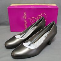 "EASY STREET womens slip-on 2.5"" cuban heel dress shoes size 10 W dark gray NEW"
