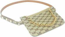 Michael Kors Belt Bag Waist Wallet MK Logo Beige Gold Chain Size: S M L XL NWT