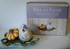 Fitz and Floyd FATTORIA Salt & Pepper w/ Tray / Gourd / Green Gold / NEW w/ box