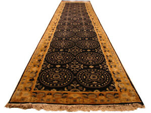 Black 14 foot Country Style Runner Nepalese Handmade 2' 9'' x 13' 6'' Runner