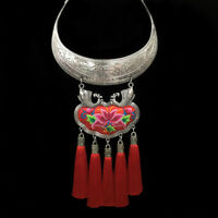 Vintage Tribal Tibet Tassal Pendant Bib Choker Chain Statement Necklace Jewelry