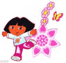 "4.5"" Dora hearts flowers set nick jr fabric applique iron on character"