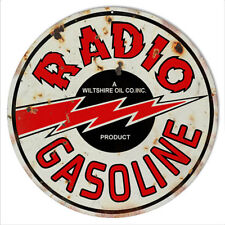 Distressed Reproduction Radio Gasoline Motor Oil Metal Sign 14 Round