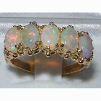 Victorian Design Solid 9ct Gold Natural Opal Ring