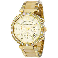 Michael Kors MK5632 Parker Chronograph Champagne Dial Gold Horn Ladies Watch