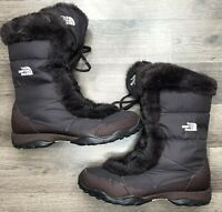 The North Face Womens Size 10.5 Fleece Lined Goose Down Boots Brown EUC