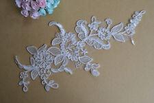Ivory Bridal Lace Applique Embroidery Wedding Dress Motif Applique Trim 1 Pair