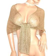 STOLA ORO donna SCIALLE FILO dorato coprispalle rete foulard cerimonia scarf F60