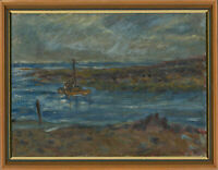 Lorna V. Nowell - Signed & Framed 1995 Oil, Sailing Rumney Foreshore