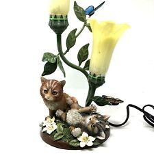 Bradford Exchange Purr-fectly Playful Kitten Torchiere Cat Flowers Lamp