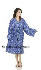 Cotton Indigo Kimono Robe Dressing Gown Wedding Bridesmaid Sleepwear Bathrobe