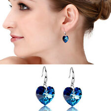 Lady 925 Sterling Silver Plated Ear Hook Blue Crystal Rhinestone Earrings Stud