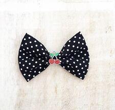 Black & White Polka Dot Imprimir Rockabilly Pin Up De Cereza Con Clip Cabello Moño