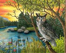 Art Print 8x10 Bird 68 Owl Nature Sunset painting by Lucie Dumas