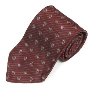 Massimo Bizzocchi Burgundy Multi-Pattern Pixels & Stripes Men's Silk Neck Tie