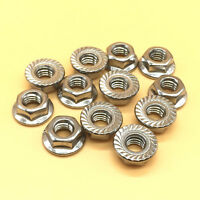 12 Pcs M10 x 1.5 Stainless Steel Flange Hex Nut Right Hand Thread [M_M_S]