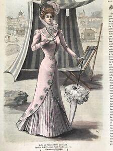 MODE ILLUSTREE SEWING PATTERN June 18,1899  ROBE EN ETAMINE