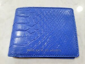 marc by marc jacobs mens bifold wallet blue python snake