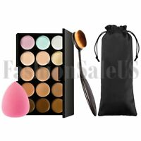 15 Colors Face Concealer Cream Contour Kit Palette Sponge Puff Makeup Brush Set