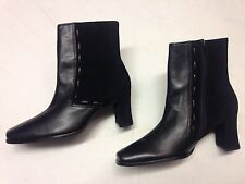 Womens St Michael M&S Black Leather Suede Block Zip Ankle Boots new Sz 4 UK 4 37