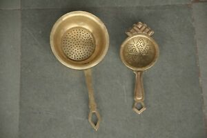 2 Pc Old Brass Handcrafted Small Perforated/Jali Cut Tea Strainers
