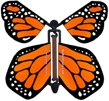 Orange Monarch Wind Up Flying Butterfly - Pack of 5