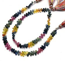 """Natural Gem Multi Sapphire 4x2 to 5x3MM Size Faceted Teardrop Briolette Beads 8"""""""