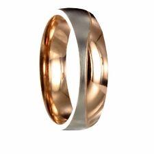 Edelstahl Bicolor silber / roségold Ring Partnerring Ehering mit  Gravur 10068