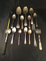 15 Vintage Antique Spoons Forks Silver Plated Metal