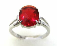 #R500S 1.5ct Ruby Red Helenite Oval Checkerboard Cut 925 Sterling Silver Ring