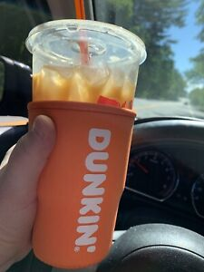 Dunkin Donuts 32 Oz RARE 2019 Orange Iconic Cup Cooler Koozie Size Large