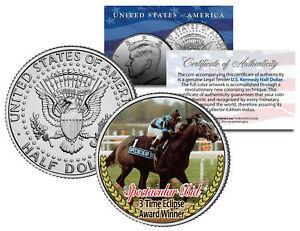 SPECTACULAR BID *3 Time Eclipse Award Winner* Racehorse JFK Half Dollar US Coin