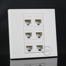 Wall Socket  Plate 6 Ports RJ45 Network Lan Cat5e Panel Outlet Faceplate