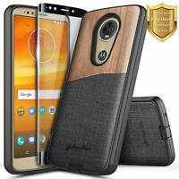 For Motorola Moto e5 Plus/e5 Supra Case Rugged Wood Phone Cover + Tempered Glass
