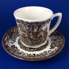 J&G Meakin Royal Staffordshire Romantic England Brown Flat Cup And Saucer