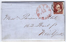 "#26A-3 Cents 1857, 81R11e, ""BOSTON 15 FEB MASS."" - Parsins & Petit NYC 1858"