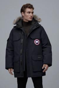 CANADA GOOSE EXPEDITION NAVY HOODED FUR TRIM ARTIC SNOW SKI PARKA DOWN COAT XL