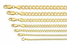 "Brand New 10k Yellow Gold 2mm-7.5mm Cuban Curb Link Chain Necklace 16""-30"""