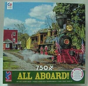 """Ceaco Jigsaw Puzzle 750 piece """"All Aboard"""" 24"""" x 18"""" with bonus picture poster"""