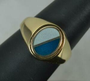 9 Carat Yellow Gold and Enamel Swivel Signet Ring