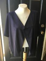New $139 Chico's Ink Navy Blue Faux Suede Zip Detail Jacket 3 XL 16 18 4 20 NWT