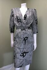 Vintage Dress Women's Black White Sheer Dress W/ Belt Size 14