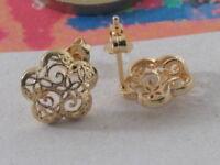 1 paio di basi per orecchini fiore filigrana argento 925 placcato oro giallo