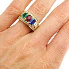 Bvlgari Bulgari Ruby Sapphire Emerald Diamond 1980s Ring 18K Gold Cigar Band
