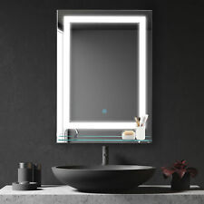 70x50cm LED Light-Up Bathroom Mirror w/ Glass Shelf Touch Switch Reflection