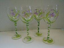 Four 4 Floral Flowers Purple Green White Wine Glasses Hand Painted Vine