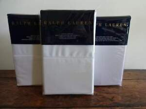 RALPH LAUREN 624TC DECO WHITE Cotton SATEEN XDP 4PC KING SHEET Set