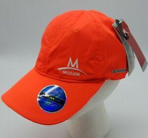 Mission Enduracool Cooling Performance Activewear Hat Neon Orange Hook Loop Band